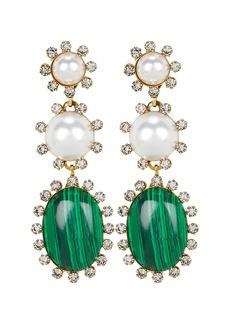 Elizabeth Cole Priscilla Malachite and Pearl Earrings