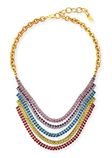 Elizabeth Cole Torrance Crystal Layer Necklace  Rainbow