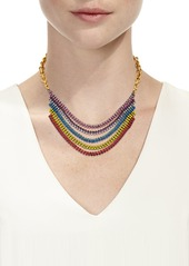 Elizabeth Cole Torrance Crystal Layer Necklace  Rainbow