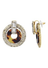 Elizabeth Cole Tortoise Shell Print Crystal Earrings