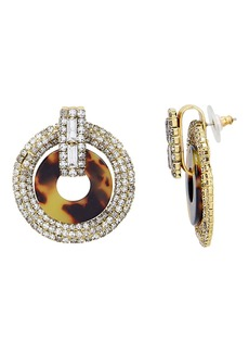 Elizabeth Cole Tortoise Shell Print Crystal Earrings