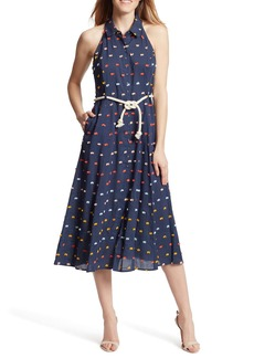 Ella Moss Christina Printed Waist Tie Midi Dress
