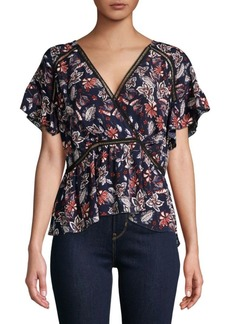Ella Moss Crossover Printed Blouse
