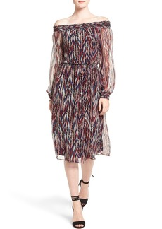 Ella Moss 'Ansel' Print Silk Off the Shoulder Midi Dress