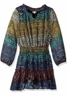 Ella Moss Big Girls' All Over Print Chiffon Dress Black AOP