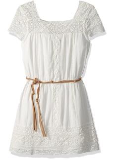 Ella Moss Girls' Big Chiffon Dress with Faux Leather Stripe  7/8