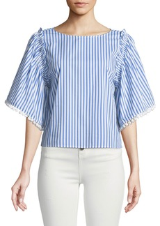 Ella Moss Boxy Striped Flutter-Sleeve Top
