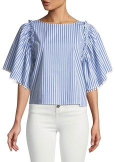 Ella Moss Boxy Striped Frill Top