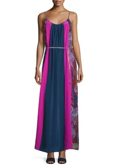 Ella Moss Celeste Mixed-Print Silk Maxi Dress