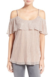 Ella Moss 'Cerine' Metallic Ruffle Cold Shoulder Top