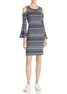Ella Moss Cold-Shoulder Striped Sweater Dress