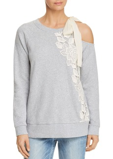 Ella Moss Embroidered Cold-Shoulder Sweatshirt