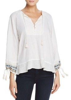 Ella Moss Embroidered Drawstring-Cuff Top