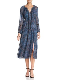 Ella Moss Embroidered Tapestry-Print Midi Dress