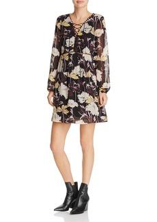 Ella Moss Floral Haze Front Lace-Up Dress