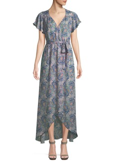 Ella Moss Floral-Print Short-Sleeve Maxi Wrap Dress