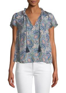 Ella Moss Floral-Print Short-Sleeve V-Neck Blouse