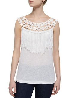 Ella Moss Fringed Slub-Knit Sleeveless Top