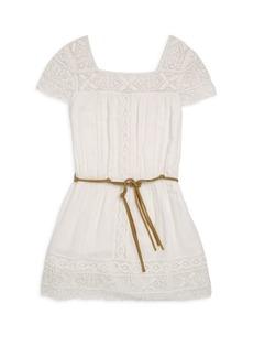 Ella Moss Girl's Faux Leather Stripe Chiffon Dress