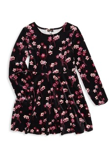 Ella Moss Girl Girl's Floral Velour A-Line Dress