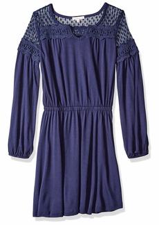 Ella Moss Girls' Big Midi Dress with mesh Trim