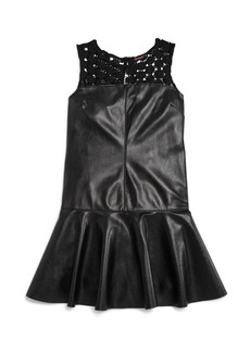 Ella Moss Girls' Faux-Leather Drop-Waist Dress - Big Kid