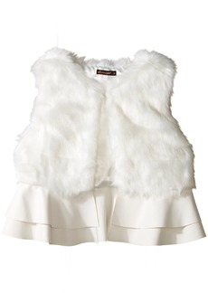 Ella Moss Girls' Slim Size Loren Faux Fur Ruffle Vest Off White