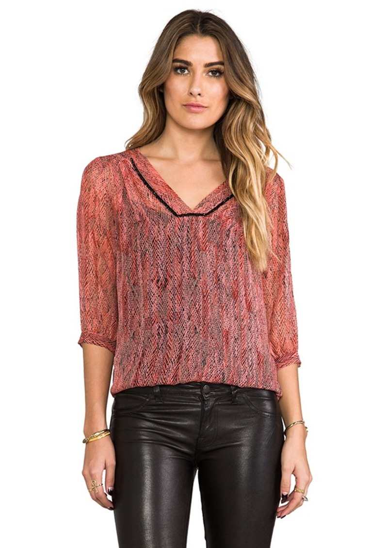 Ella Moss Hailey V Neck Blouse in Coral