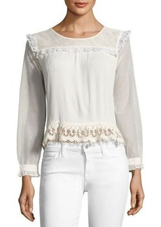 Ella Moss Hazelina Long-Sleeve Ruffle-Trim Blouse