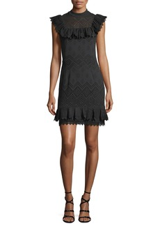 Ella Moss Justina Sleeveless Perforated Ruffled Dress
