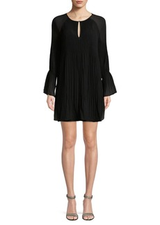 Ella Moss Keyhole Pleated Long-Sleeve Dress