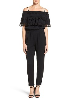 Ella Moss Lace Trim Off the Shoulder Jumpsuit