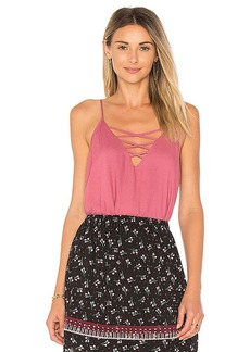 Ella Moss Lace Up Cami in Pink. - size M (also in S,XS)