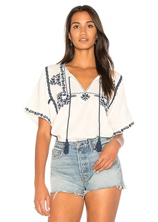 Ella Moss Marini Embroidered Top in White. - size L (also in M,S,XS)