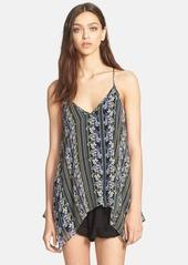 Ella Moss 'Meadow' Floral Print Handkerchief Hem Silk Tank