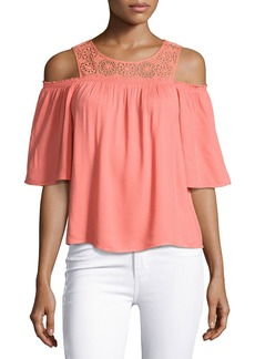 Ella Moss Medallion Crochet Cold-Shoulder Top