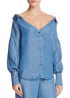 Ella Moss Off-the-Shoulder Chambray Shirt