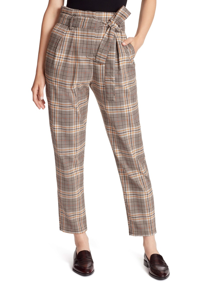 Ella Moss Plaid Paperbag Waist Ankle Pants