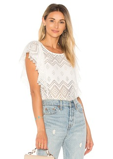 Ella Moss Pleated Lace Top in White. - size L (also in M,S,XS)