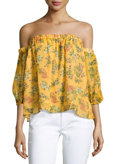 Ella Moss Poetic Floral Off-the-Shoulder Silk Blouse