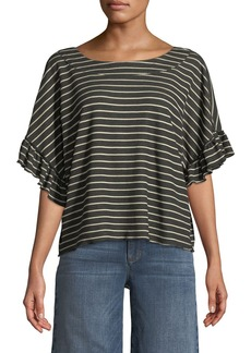 Ella Moss Reversible Striped Short-Sleeve Tie-Back  Tee