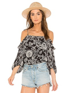 Ella Moss Ria Floral Top in Black. - size L (also in M,S,XS)