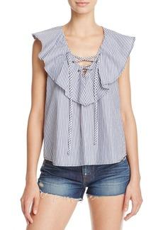 Ella Moss Ruffle Stripe Lace-Up Top
