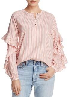 Ella Moss Ruffle-Trim Striped Shirt