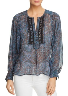 Ella Moss Sheer Tapestry-Print Top