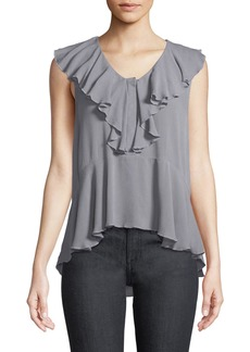 Ella Moss Sleeveless Button-Front Ruffle Top