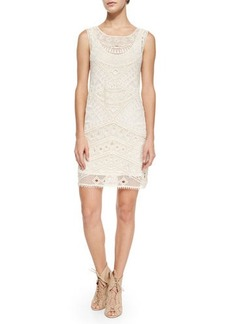 Ella Moss Sleeveless Embroidered-Mesh Shift Dress
