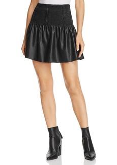Ella Moss Smocked Ruffled Faux-Leather Mini Skirt