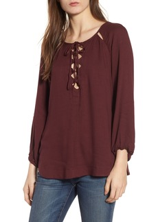 Ella Moss Stella Cutout Lace-Up Blouse