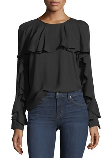 Ella Moss Stella Round-Neck Long-Sleeve Top with Ruffled Trim